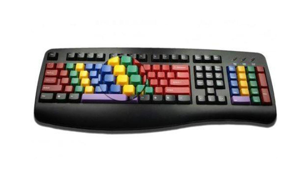 AbleNet LessonBoard Multi-Colored Keys with Black Framed Standard USB Wired Computer Keyboard
