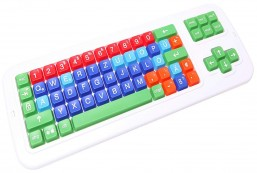Clevy Color Coded German Computer Keyboard with Uppercase White Lettering