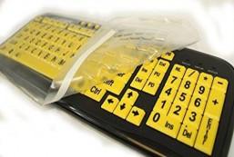 EZ See Large Print USB Wired Keyboard Bundled with Custom Made Viziflex Keyboard Cover