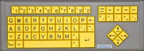 AbleNet BigKeys LX QWERTY Keyboard USB Wired (Yellow Keys with Black Jumbo Oversized Print Letters) (12000012 )