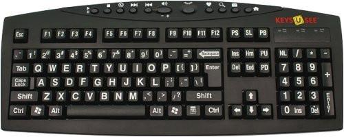 AbleNet Large Print English Black Keyboard with White Letters for the Visually Impaired
