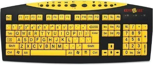 AbleNet Keys U See Large Print US English USB Wired Keyboard - Yellow Keys with Large Black (MAG0428)
