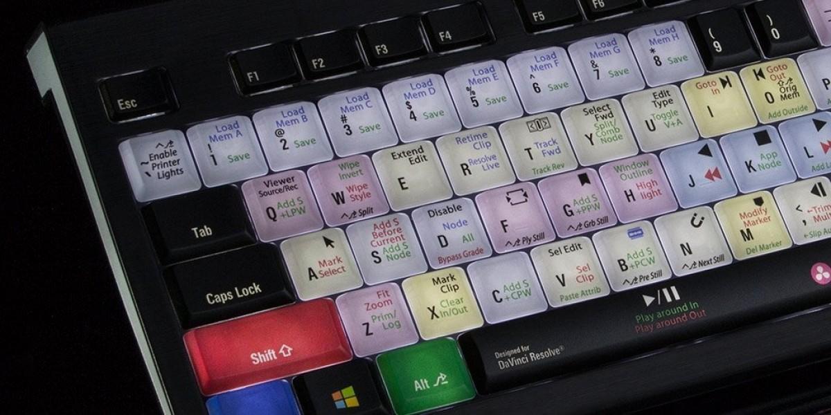 Logickeyboard Blackmagic DaVinci Resolve PC Backlit Astra USB Wired Keyboard For Windows- Shortcut for Blackmagic DaVinci Resolve #LKBU-RES12-APBH-US
