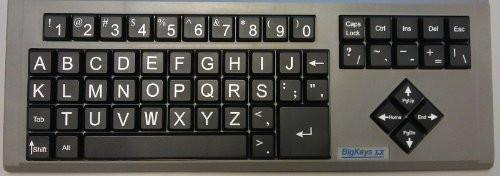 BigKeys LX ABC Large Print USB Keyboard - Black Keys & White Characters