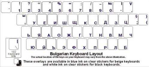 Bulgarian White Characters Black Computer Keyboard Stickers Overlays