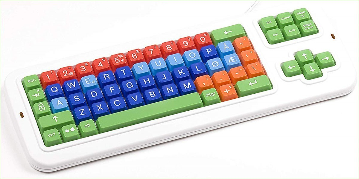 Clevy Color Coded Norwegian Large Print solid Spill proof Mechanical Computer Keyboard with Uppercase/Lowercase White Lettering - 102780