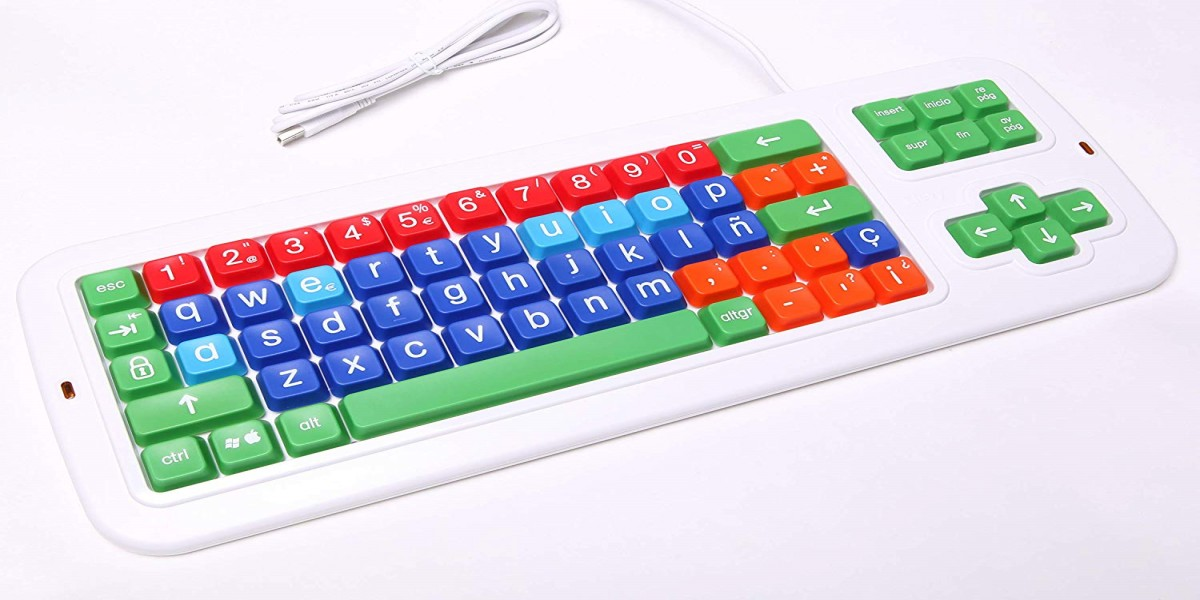 Clevy Color Coded Spanish Mechanical Large Print Computer Keyboard with Uppercase White Lettering - 102689