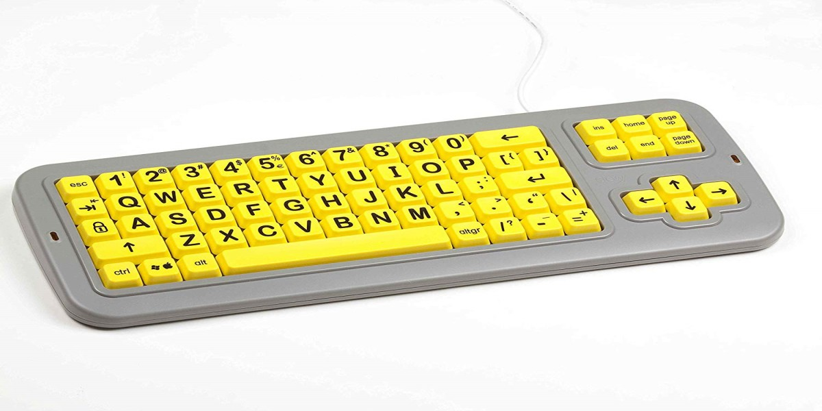 Clevy Large Print Mechanical and solid spill proof Keyboard Uppercase Yellow Keys with Black Letters – part #102694