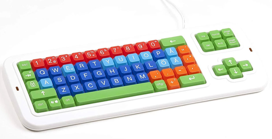 Clevy Swedish Color Coded Large Print Spill proof Mechanical Keyboard