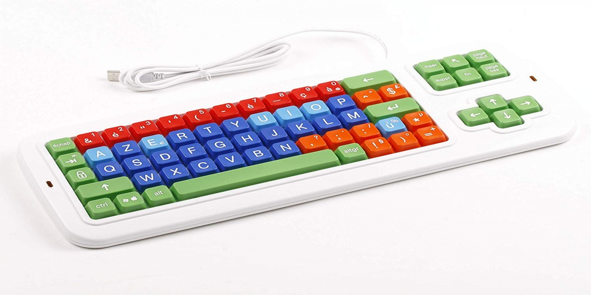 Clevy Color Coded French Computer Keyboard with Uppercase White Lettering - 102688