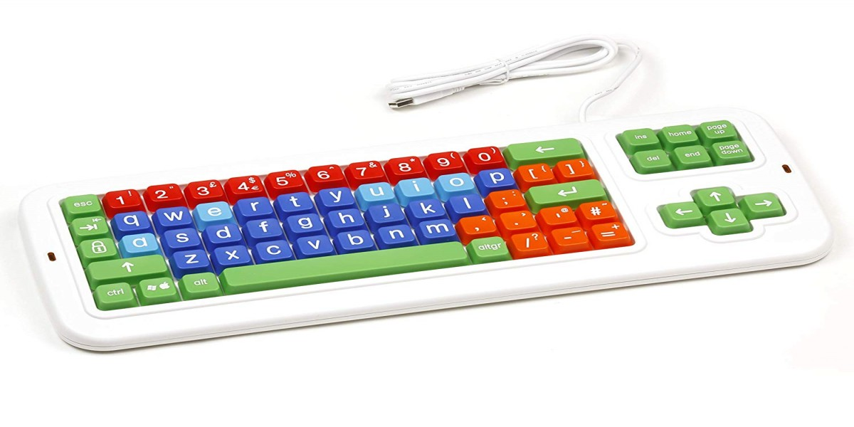 Clevy Color Coded UK Mechanical Computer Keyboard with with Lowercase White Lettering - 102691
