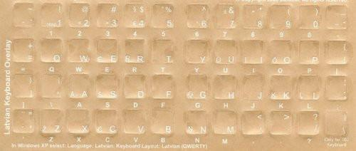Latvian Keyboard Stickers White Characters Black Computer Keyboard