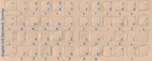 English White/Ivory Color Keyboard Sticker Blue Transparent Character