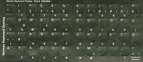 German Non-transparent Opaque QWERTY Keyboard Stickers - Overlay