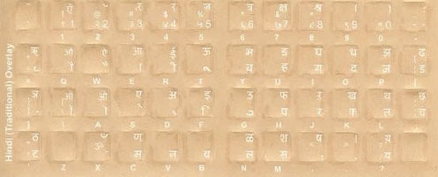Hindi Keyboard Stickers - Labels - Overlays with White Characters