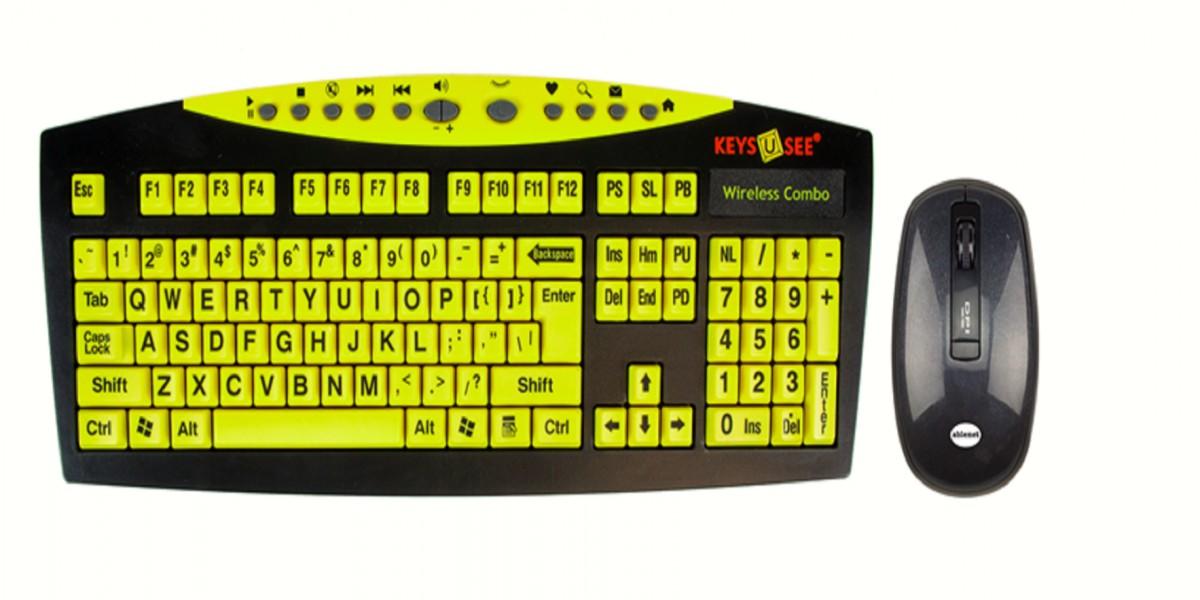 Keys-U-See Wireless Large Print Keyboard and Wireless Mouse Bundle Set