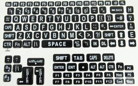 Large Print Keyboard Laptop Labels - Laptop Replacement Parts