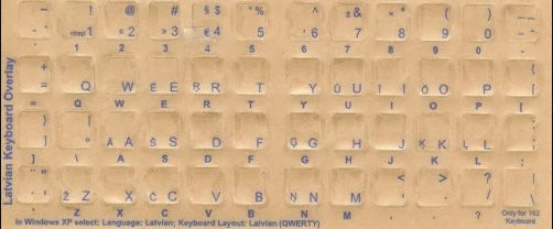 Latvian Computer Keyboard Stickers - Labels - Overlays Blue Characters