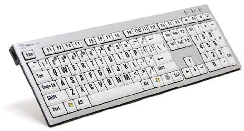 LogicKeyboard XL Print PC Slim Line Black on White Keyboard
