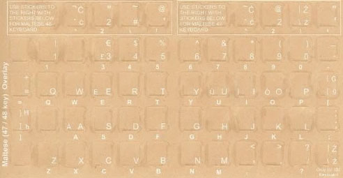 Maltese Language Keyboard Stickers - Labels - Overlays - Bilanguage
