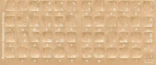 Romanian Keyboard Stickers - Labels - Overlays with Blue Characters