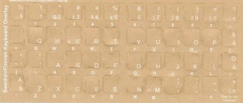 Swedish Finnish Reverse Print Keyboard Transparent Overlays Stickers