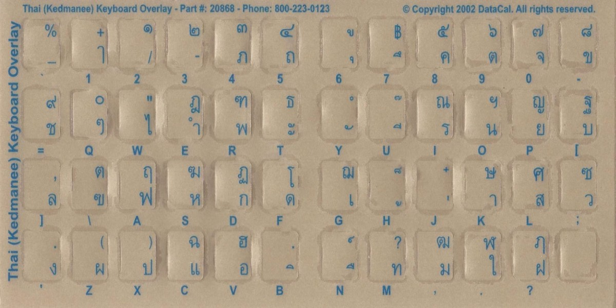 Thai Computer Keyboard Language Stickers - Labels - Overlays bilingual