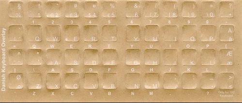 Dark Keyboard Transparent Danish White Characters  - keyboard stickers