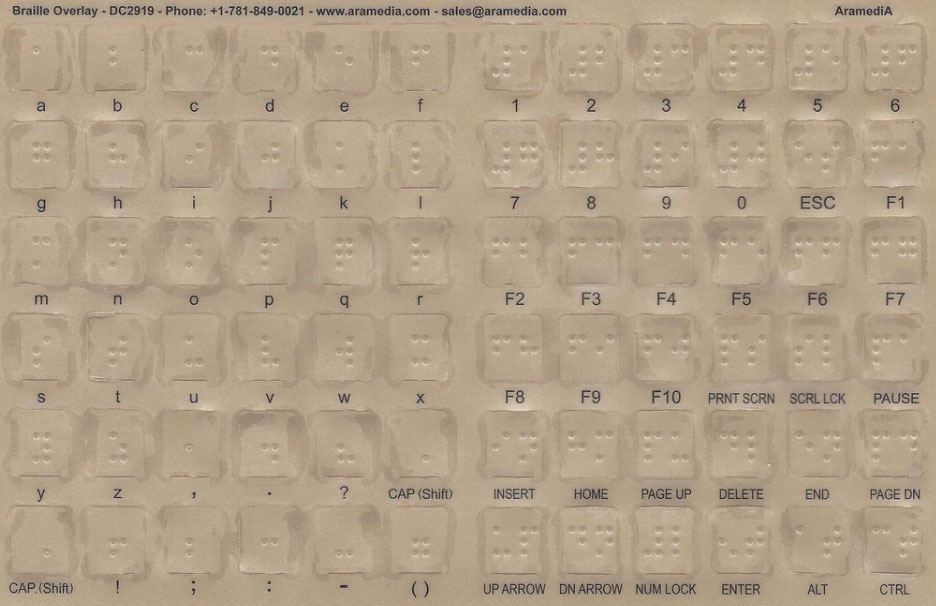 Windows PC Transparent Braille Computer Keyboard Overlays Stickers