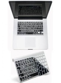 APPLE MAC LARGE PRINT Transparent/black Keyboard Cover with White Large Print for MacBook Pro, MacBook Air, MacBook