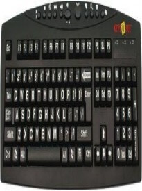 AbleNet Large Print English Black Keyboard - White Letters for the Visually Impaired -- MG151