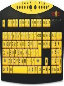 AbleNet Keys U See Large Print US English USB Wired Keyboard - Yellow Keys with Large Black (MAG0428)