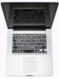 Apple Macbook Large Print Keyboard Cover-Wht on Blk