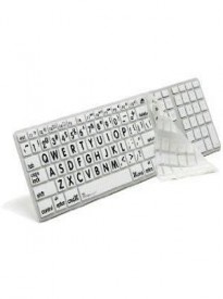 APPLE MAC LARGE PRINT Transparent/white Keyboard Cover with Black Large Print