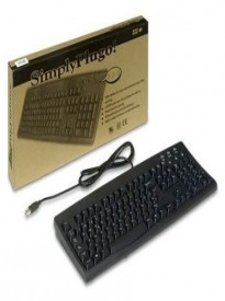 Bilingual Keyboard: Black Hebrew English Wired USB Keyboard with White / Beige Letters or Characters for Windows PC Computers - SimplyPlugo Brand