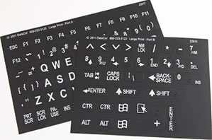 Braille and Large Print Combined Keyboard Stickers - Black Keys with White Characters