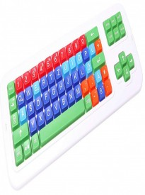 Clevy Color Coded German Mechanical  Large Print Solid Spill Proof Computer Keyboard with Uppercase White Lettering - 102778