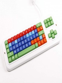 Clevy Belgium Color Coded Large Print solid Spill proof Mechanical Keyboard with Uppercase White Lettering - 102779