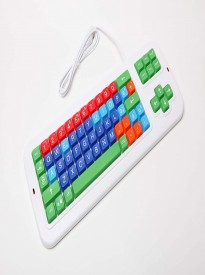 Clevy Color Coded Italian Mechanical Large Print Keyboard with Uppercase White Lettering - 102687 - Solid Spill Proof