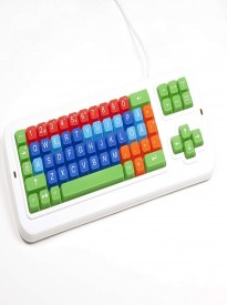 Clevy Swedish Color Coded Mechanical Large Print Computer Keyboard with White Uppercase Lettering - 102690 - Solid Spill Proof