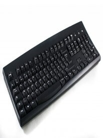 Black French European (AZERTY) USB Wired Keyboard (Black Keys/White Characters or Letters)