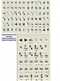 Large Print Black Letters on White / Off-White Background Keyboard Stickers Labels Stick-On for LowLight or Weak Vision