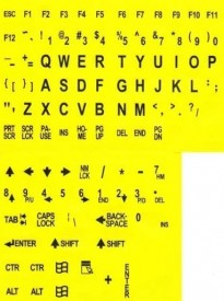 Large Print English Keyboard Stickers for the Visually Impaired (Yellow with Black Letters)