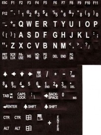 Large Print English Keyboard Stickers Lexan® Polycarbonate Material, 3M® Adhesive for the Visually Impaired