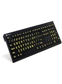 Logickeyboard LargePrint Nero Black on Yellow PC Keyboard | XL Printed Slim Line Keyboard Black on Yellow - LKBU-LPBY-BJPU-US