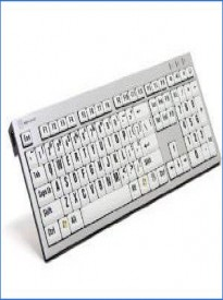 LogicKeyboard Large Print Computer USB Wired Keyboard Slim for Visually Impaired - Black Letters on White Keys For PC