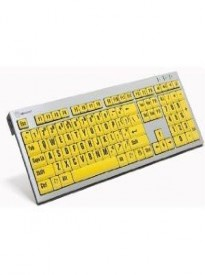 LogicKeyboard Large Print Computer USB Wired Keyboard Slim for Visually Impaired - Black Letters on Yellow Keys For PC-LKBU-LPRNTBY-AJPU-US