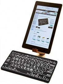 LogicKeyboard Large Print White on Black Bluetooth Mini Keyboard For Apple iPad and iPhone - Tablet not Included - LKBU-LPBW-BTON-US II