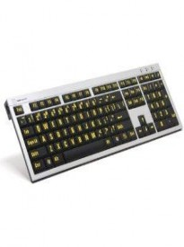 LogicKeyboard XLPrint PC Slim Line Keyboard with Large Print, Yellow on Black- LKBU-LPRNTYB-AJPU-US