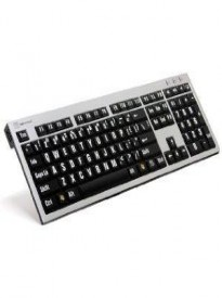 LogicKeyboard XL Print Computer USB Wired Keyboard Slim for Visually Impaired - White Letters on Black Keys For PC-LKBU-LPRNTWB-AJPU-US